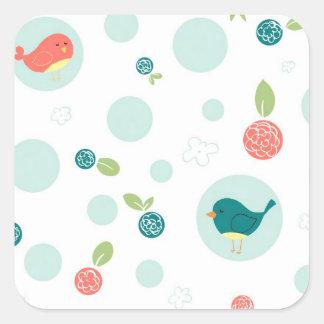 Birds in Polka Dots Square Sticker
