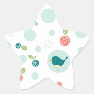 Birds in Polka Dots Star Sticker