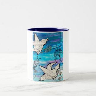 Birds in the Garden Two-Tone Coffee Mug