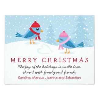 Birds in the snow Merry Christmas card