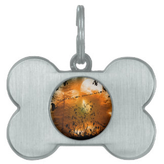 Birds in the sunset with moon pet name tag
