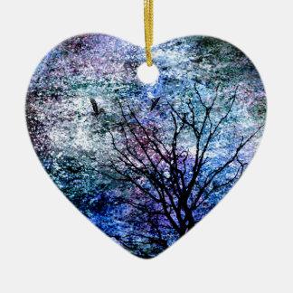 Birds in the Tree in Sparkling Sky Ceramic Ornament