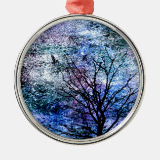 Birds in the Tree in Sparkling Sky Metal Ornament