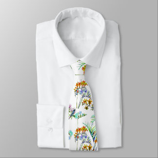 BIRDS IN THE TRPOICAL GARDEN , FLOWERS AND PLANTS NECK TIE