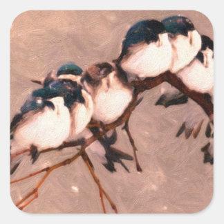 birds in the winter square sticker