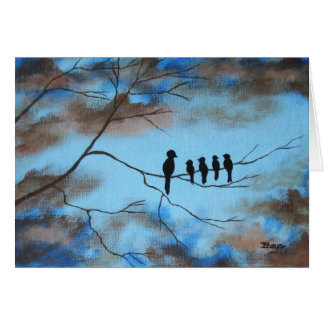 Birds In Tree In Sky Mother's Day Abstract Art Card