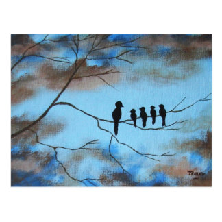 Birds In Tree In Sky Mother's Day Abstract Art Postcard