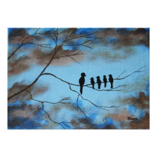 Birds In Tree In Sky Mother's Day Abstract Art Posters
