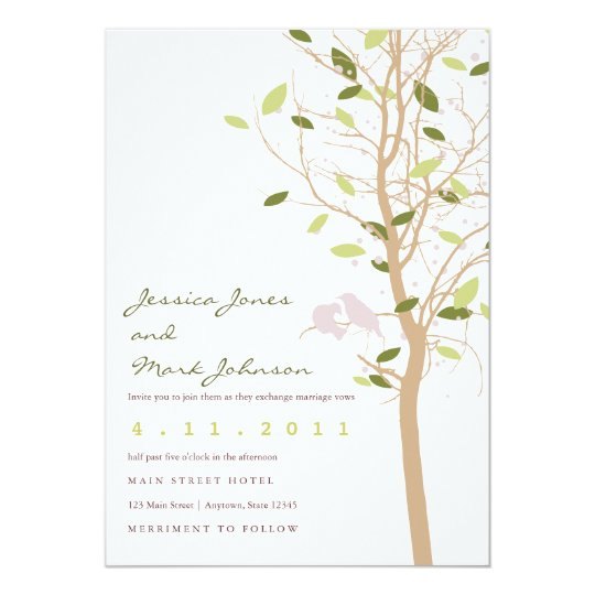 Birds in Tree with Leaves Card