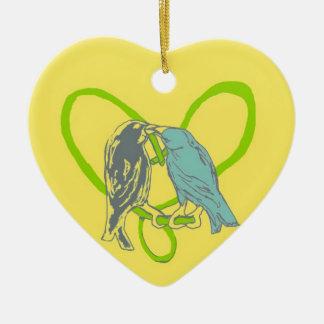 Birds Kissing Heart Swirl Vine Heart Ornament