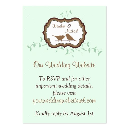Birds Leaves Mint Chocolate Wedding Website Insert Business Card