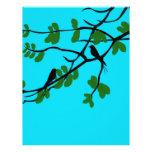 Birds_leaves_tree_blue_design Plantillas De Membrete