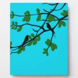Birds_leaves_tree_blue_design Placa De Plastico