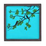 Birds_leaves_tree_blue_design Premium Keepsake Box