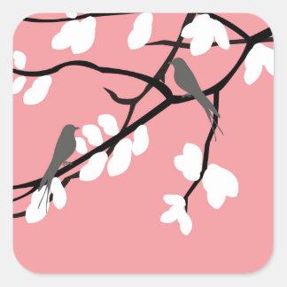 Birds_leaves_tree_design Square Sticker