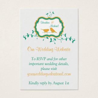 Birds Leaves Yellow Emerald Wedding Website Insert