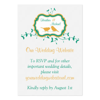 Birds Leaves Yellow Emerald Wedding Website Insert Large Business Cards (Pack Of 100)