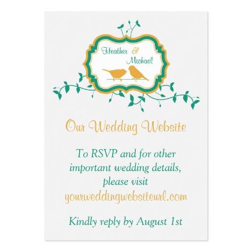 Birds Leaves Yellow Emerald Wedding Website Insert Business Card