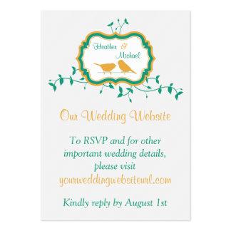 Birds Leaves Yellow Emerald Wedding Website Insert Large Business Card