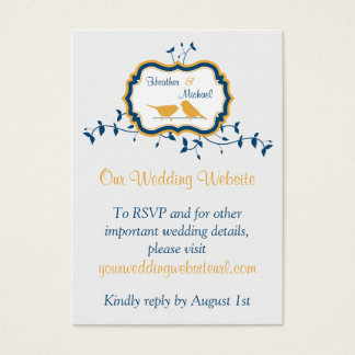 Birds Leaves Yellow Navy Wedding Website Insert
