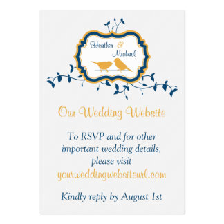 Birds Leaves Yellow Navy Wedding Website Insert Large Business Cards (Pack Of 100)