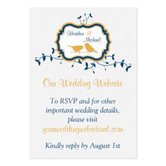 Birds Leaves Yellow Navy Wedding Website Insert Business Card Templates