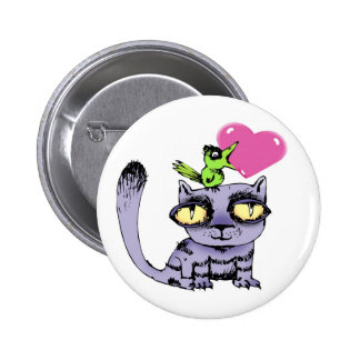 Birds Love Cats Pinback Button