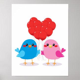 Birds Love Heart Balloons Poster