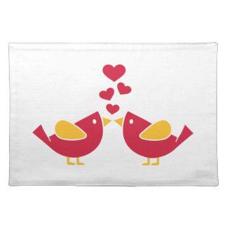 Birds love hearts cloth place mat