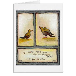 Birds love relationship original art For No Reason Card