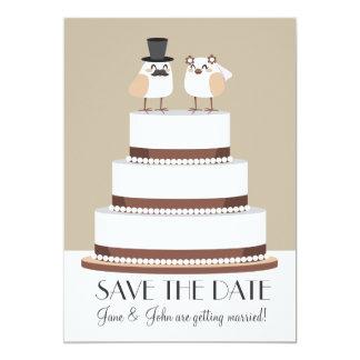 "Birds Love Wedding Cake 5"" X 7"" Invitation Card"