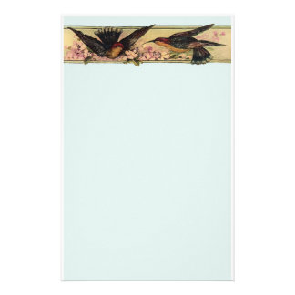 Birds Meeting ~ Stationary Pink Flowers Vintage Stationery