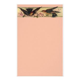 Birds Meeting ~ Stationery Pink Flowers Vintage