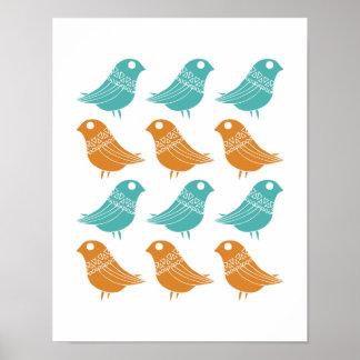 Birds Mid Century Modern Turquoise Orange Poster