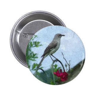 Birds Mockingbird Animal Nature Photo Buttons