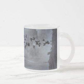 birds 10 oz frosted glass coffee mug