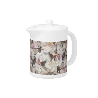 Birds & Music Paper Collage Tea Pot