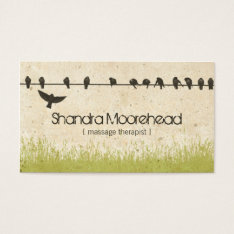 Birds Natural Massage Therapist Business Card at Zazzle