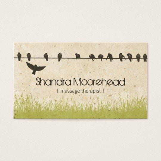 Birds Natural Massage Therapist Business Card