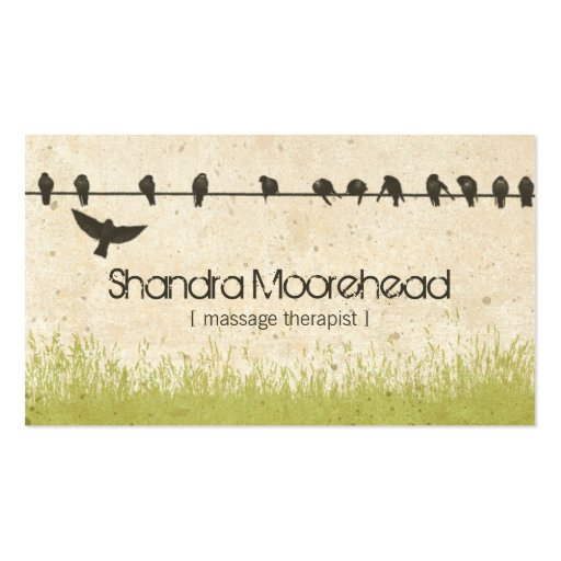 Birds Natural Massage Therapist Business Card