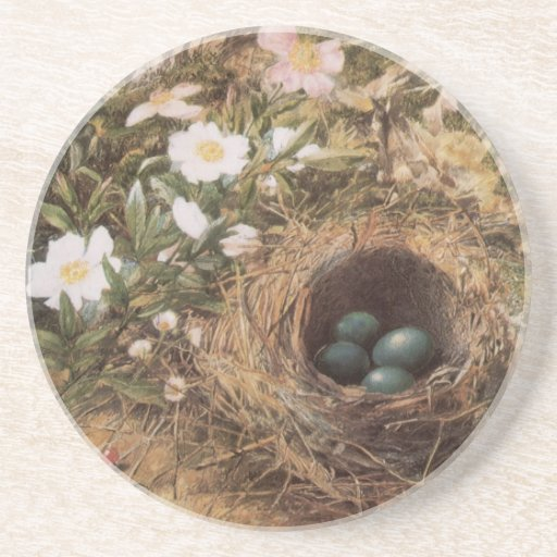 Birds Nest and Dogroses by Hill,Victorian Fine Art Coasters