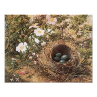 Birds Nest and Dogroses by Hill,Victorian Fine Art Personalized Invitations