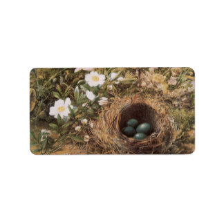 Birds Nest and Dogroses by Hill,Victorian Fine Art Personalized Address Labels