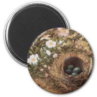 Birds Nest and Dogroses by Hill,Victorian Fine Art 2 Inch Round Magnet