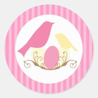 Birds Nest Baby Shower Envelope Seals Round Sticker