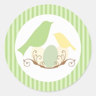 Birds Nest Baby Shower Envelope Seals Round Stickers