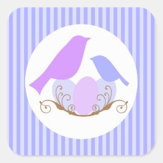 Birds Nest Baby Shower Envelope Seals Square Sticker