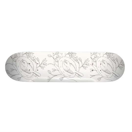 Bird's Nest Line Drawing Skateboard Deck