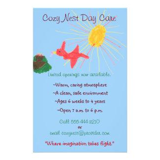 Bird's nest themed child care flyer