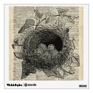 Birds Nest Vintage Illustration On Old Book Page Wall Graphics